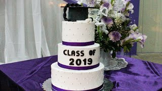 4 Tier Graduation Cake with Whipped Cream | How to tutorial