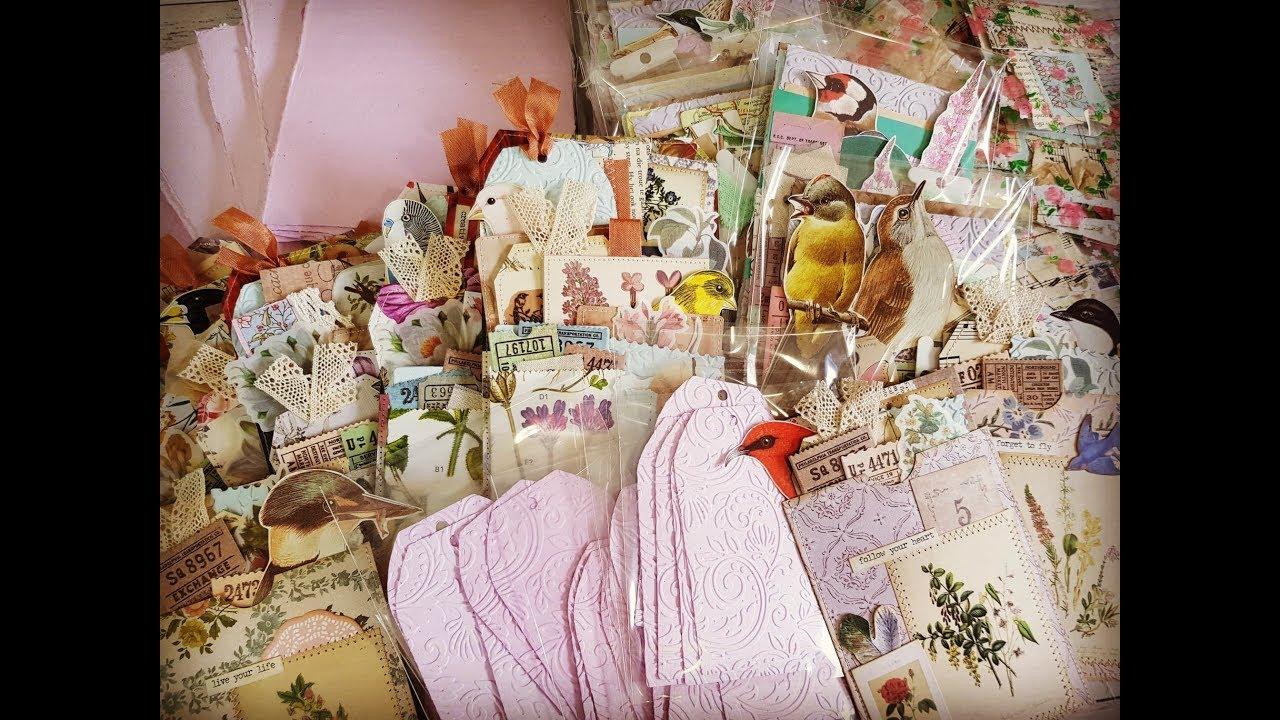 Etsy Restock - Pink Handmade Paper - Layered Pocket Tags - Ephemera Packs