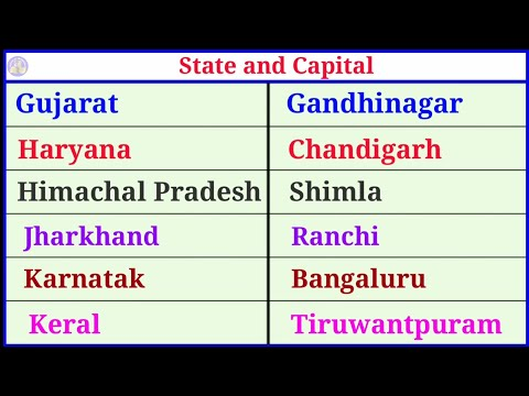 States and capitals name in english. Bharat ke rajy or rajdhaniyon ke naam.