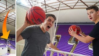 Challenging a SUBSCRIBER to Basketball Trick Shot BATTLE!
