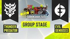 Dota2 - Evil Geniuses vs. Thunder Predator- Game 1 - ESL One Birmingham 2020 - Group Stage - NA