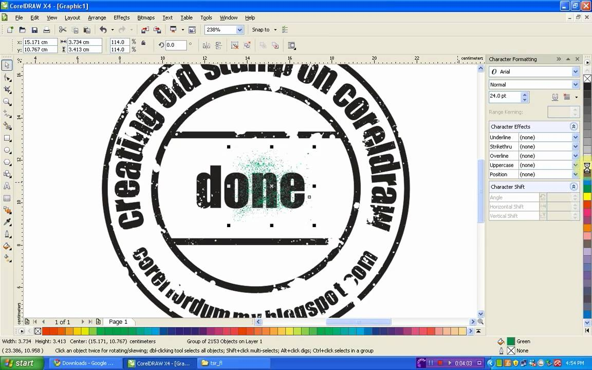 Corel Draw Tutorial creating old stamp - YouTube