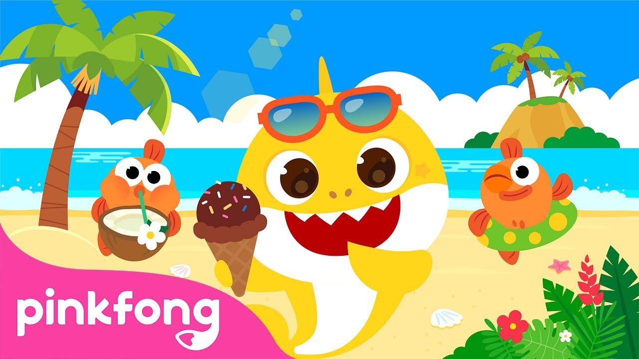 Акулёнок летом   Акулёнок Месяц    Пойте с Акулёнком   Пинкфонг Песни для Детей