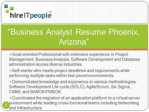 Business Analyst Resume Phoenix, Arizona