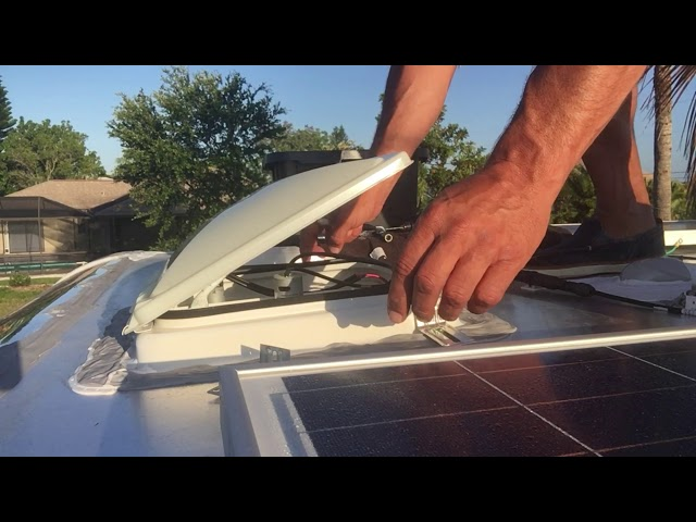 RV Trailer Build #110 - Roof Vent Covers Install. Step-up Transition. Victron Battery Monitor View.