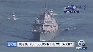 USS Detroit docks in city