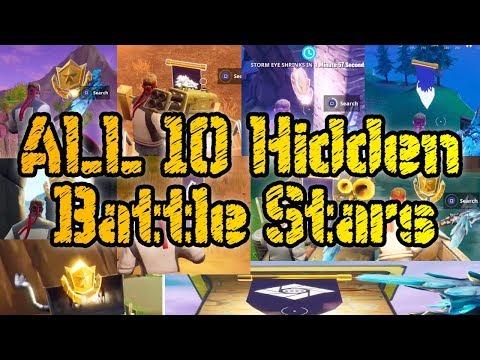 ALL 10 HIDDEN BATTLE STARS LOCATIONS SEASON 6 - Fortnite Battle Royale Week 1 - 10