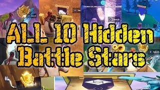 ALL 10 HIDDEN BATTLE STARS LOCATIONS SEASON 6 - Fortnite Battle Royale Week 1 - 10