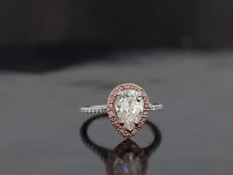 6752b42b4d561d Pear Shape with Pink Diamond and Rose Gold Halo Engagement Ring ...