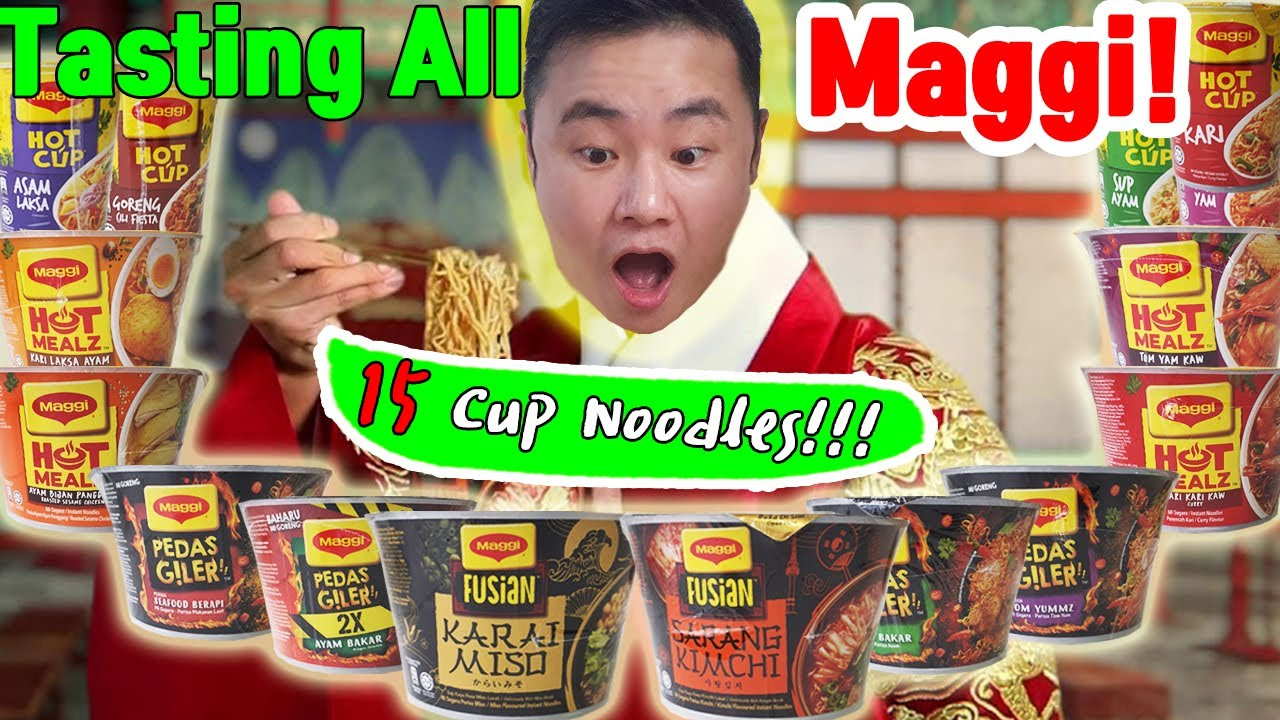 Korean Trying All Maggi Cup Noodles - Maggi Pedas Giler is Super Spicy!