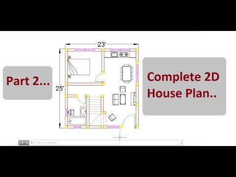 Complete 2D house plan (Part 2) | AutoCAD 2D design on cad ...