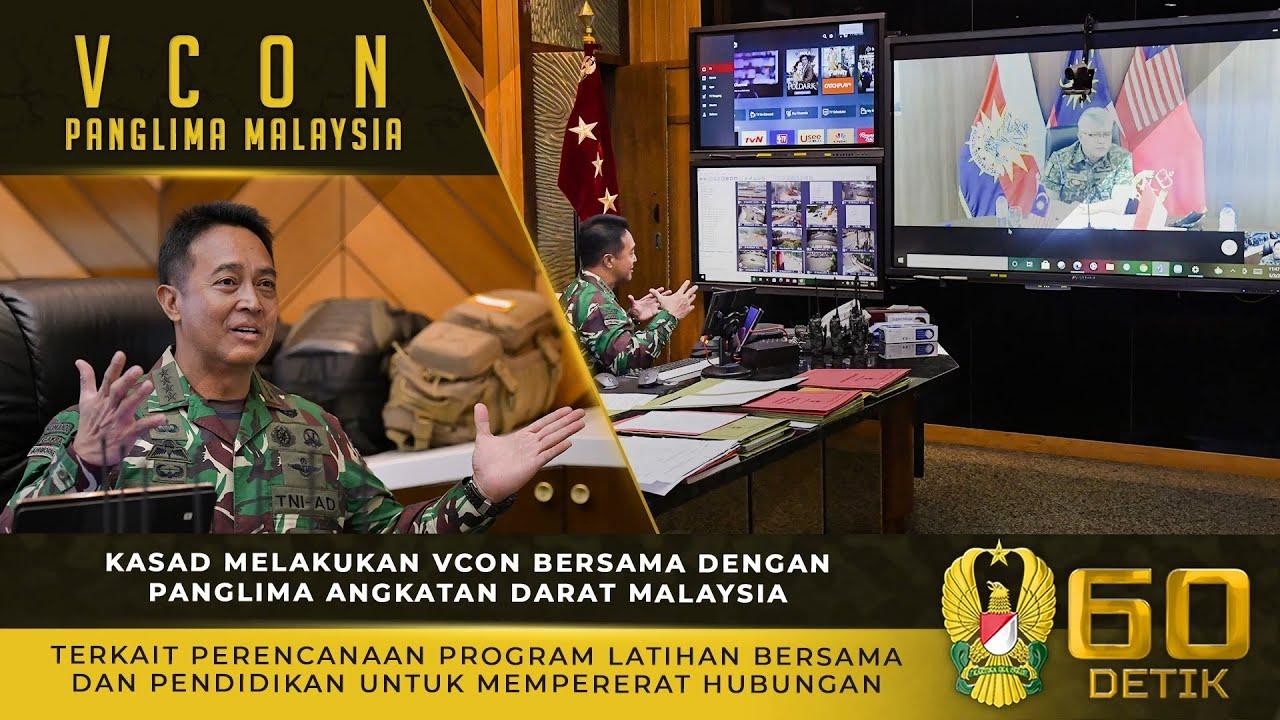 Kasad Melakukan Video Conference Bersama Dengan Panglima Angkatan Darat Malaysia