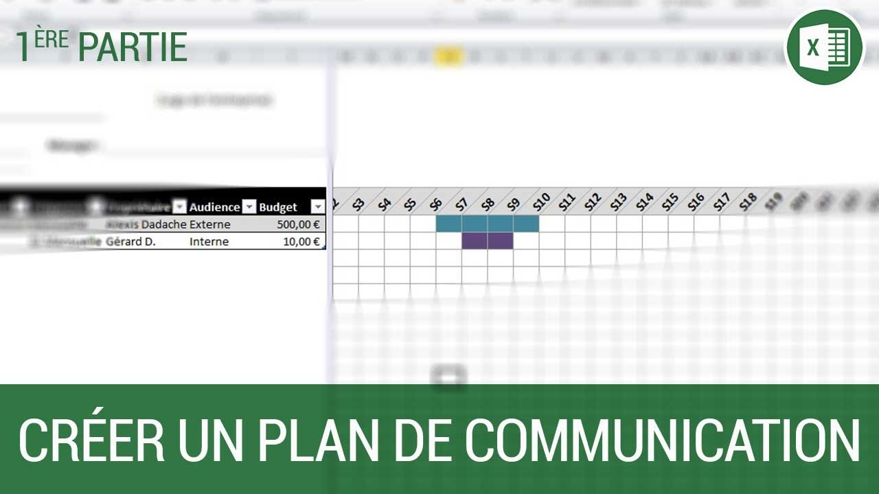 Creation D Un Plan De Communication Sous Excel Partie 1 Youtube