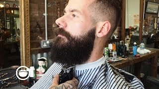 Slicked Back Army Fade with a Square Beard at the Barbershop thumbnail