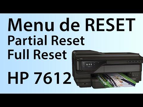 Menu de Reset da HP Officejet 7612