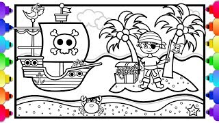 How to Draw a Pirate Ship for Kids 💙Pirate Coloring Page 💙