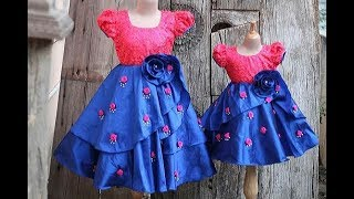 DIY Designer Baby Frock With Fabric Flower Pattern Making Step By Step Full Tutorial