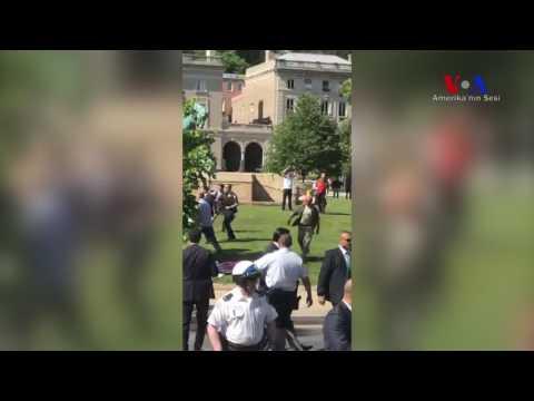Washington'da Erdoğan Protestosu Sırasında Kavga