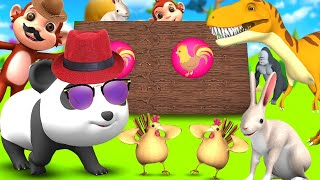 Funny Panda enters Wonderland to Play Fun Games with Barn Animals in Forest 3D Animal Cartoons