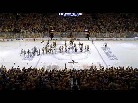 Handshakes: Predators and Blackhawks shake hands after Nashville sweeps