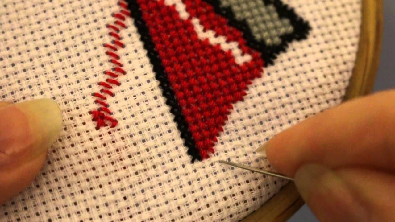 Дробный крестик в вышивке