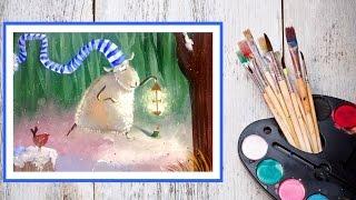 Видео урок Рисуем гуашью Новогоднюю овечку Вариант №2