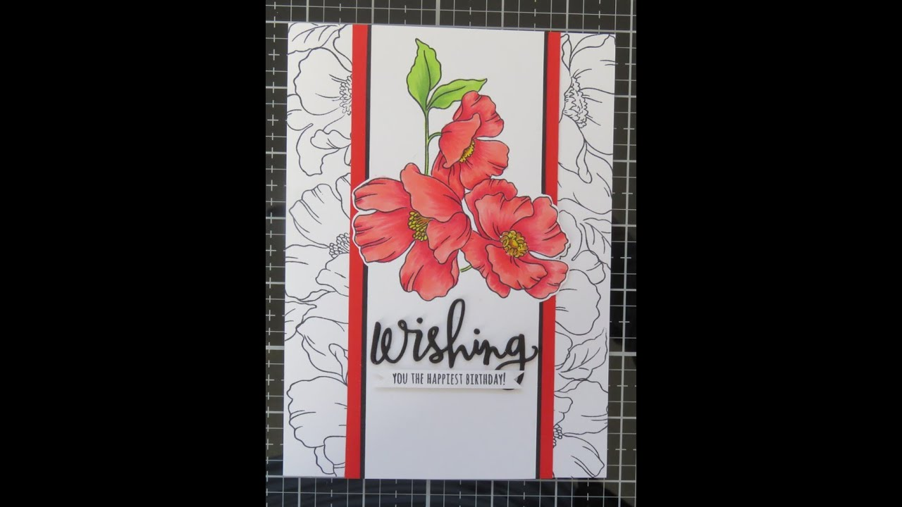 Outline stamped border card with coloured panel