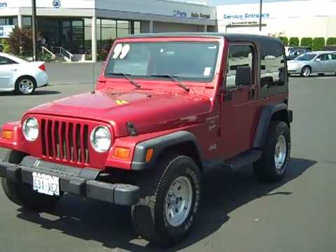 1999 jeep wrangler sport 4wd red enumclaw seattle. Black Bedroom Furniture Sets. Home Design Ideas