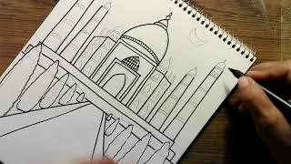 How to draw the Taj Mahal for kids