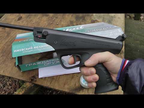 Пневм.пистолет МР-53М (ИЖ-53М) - внешний вид, измерение скорости, стрельба