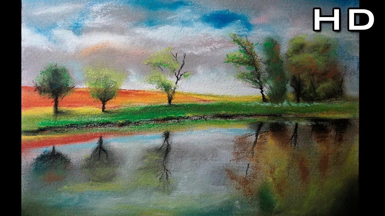 C mo dibujar un paisaje al pastel paso a paso c mo dibujar rboles y reflejos en el agua - Como vallar un campo ...