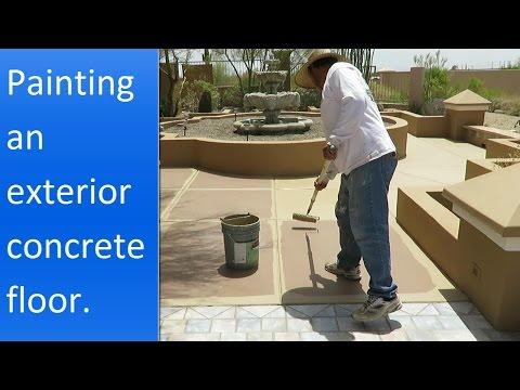 Painting exterior concrete patio.