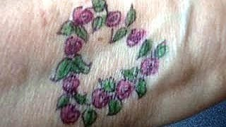 DIY Temporary tattoo, how to draw  heart with roses and leaves, pink roses, how to diy,