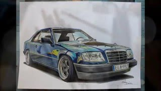 Drawing Mercedes W124 Coupe (MarlenaSzkice)