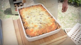 Рецепт лазаньи с фаршем и грибами в дровяной печи