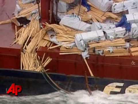 Raw Video: Ship Loses Timber in Rough Seas
