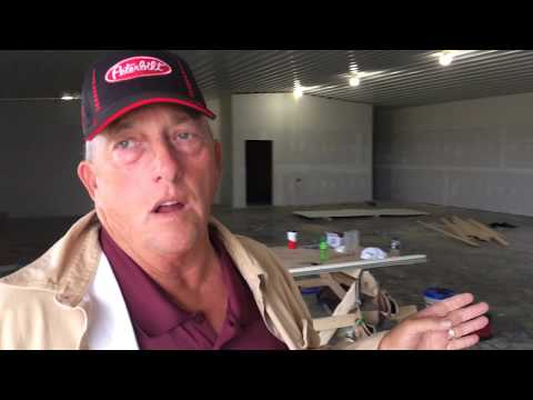 Phil Schroder shows off the drag strip and events center at Onawa.