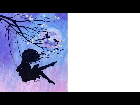 Beginner Acrylic tutorial | Cherry Blossom Swing and Girl | Art Sherpa #coloroftheyearart