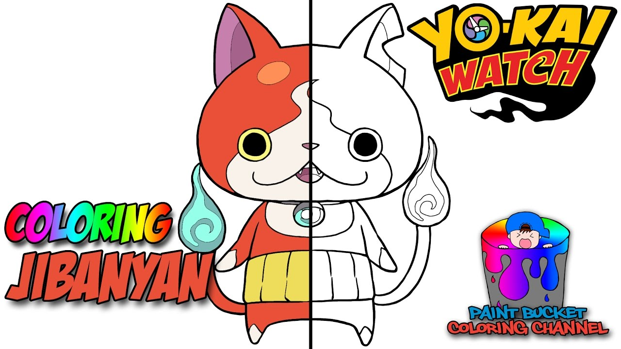 How to Color Jibanyan YoKai Watch Coloring Page YouTube