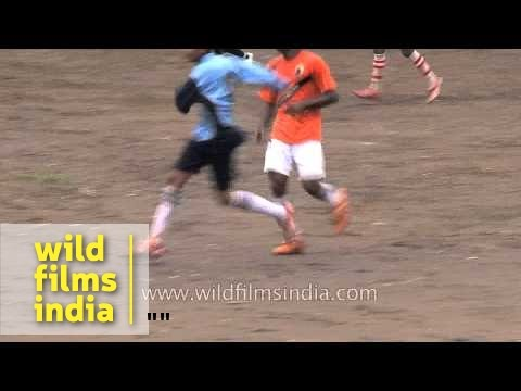 Players in action during soccer match in Satara, Maharashtra