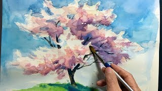 [ Eng sub ]  Watercolor Tree Painting easy tutorial #2 Cherry blossom   水彩画の基本 〜桜の樹木を描くコツ