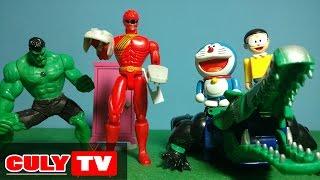 đồ chơi Doremon chế hài - Nobita giải thoát robot gao cá sấu của siêu nhân gao đỏ