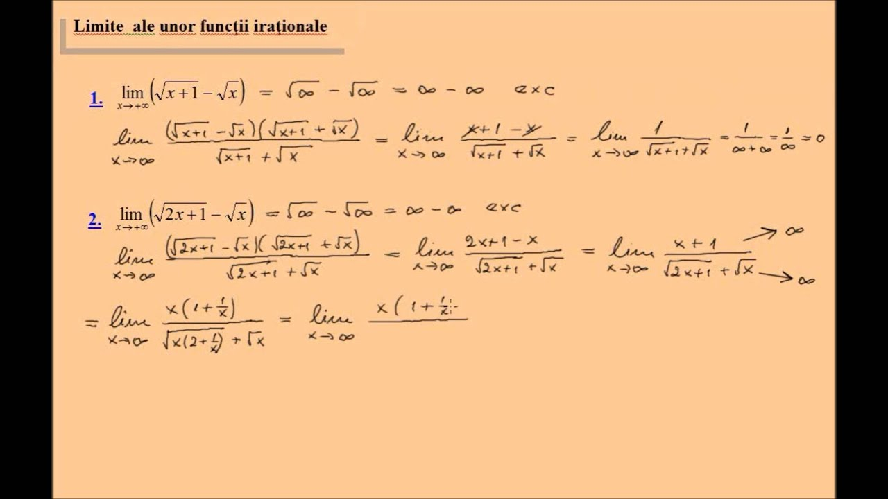 Limite de functii, exercitii rezolvate (lic_limitele7)