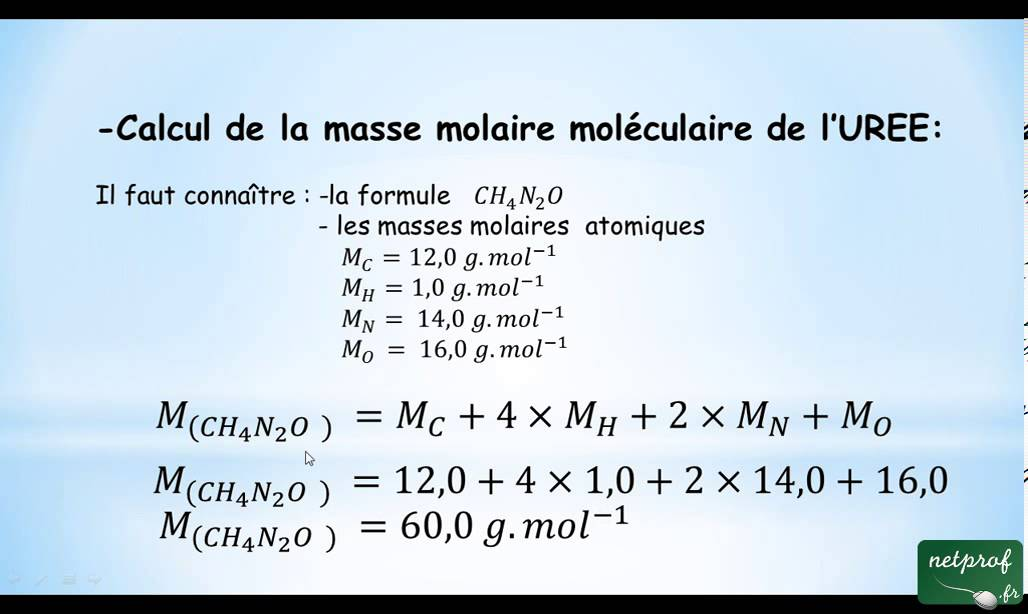 calcul de masse