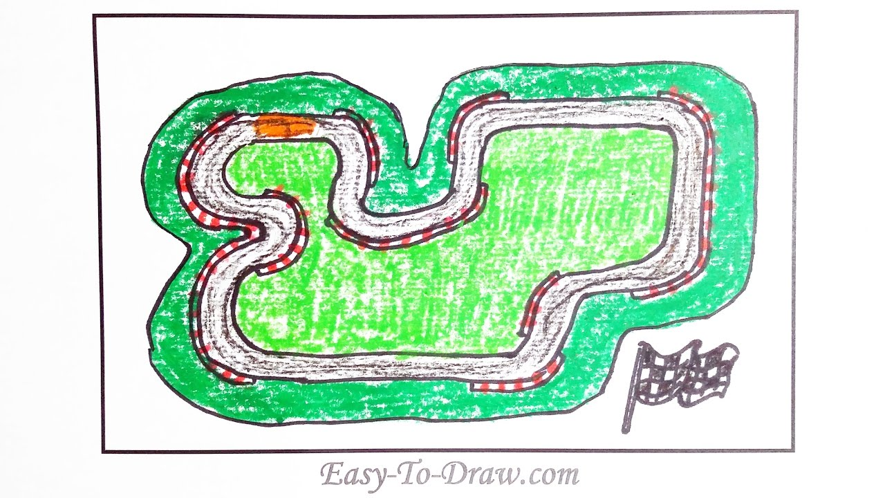 How To Draw A Cartoon Race Track With Guardrail Step By