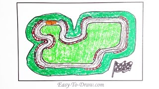 How to draw a cartoon race track with guardrail step by step - Free & Easy Tutorial for Kids