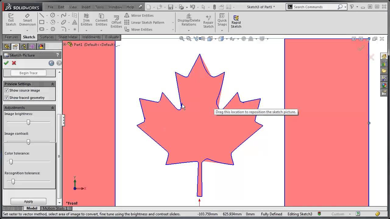 SolidWorks Tutorial: Autotrace a Sketch Picture