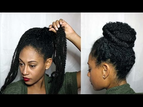 Natural Textured Bun W Marley Braiding Hair Youtube
