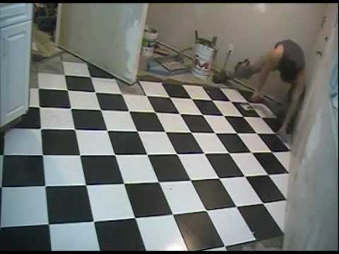 checkerboard floor tile installation 12