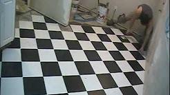 "Checkerboard Floor Tile Installation 12"" x 12"" Diamond Pattern"